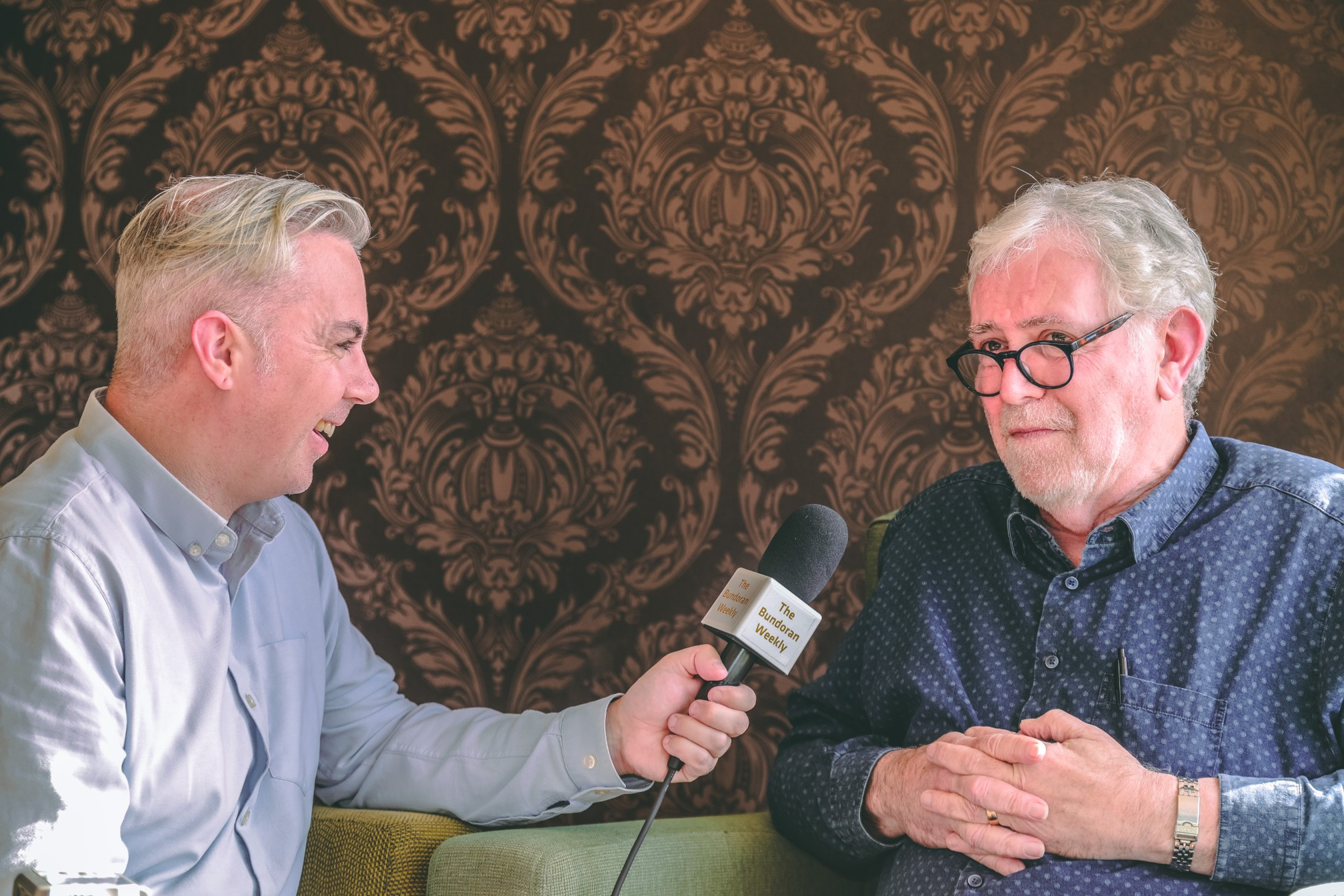 Picture shows Shane Smyth interviewing singer songwriter Charlie McGettigan for the Bundoran Weekly podcast in 2018 - six years in