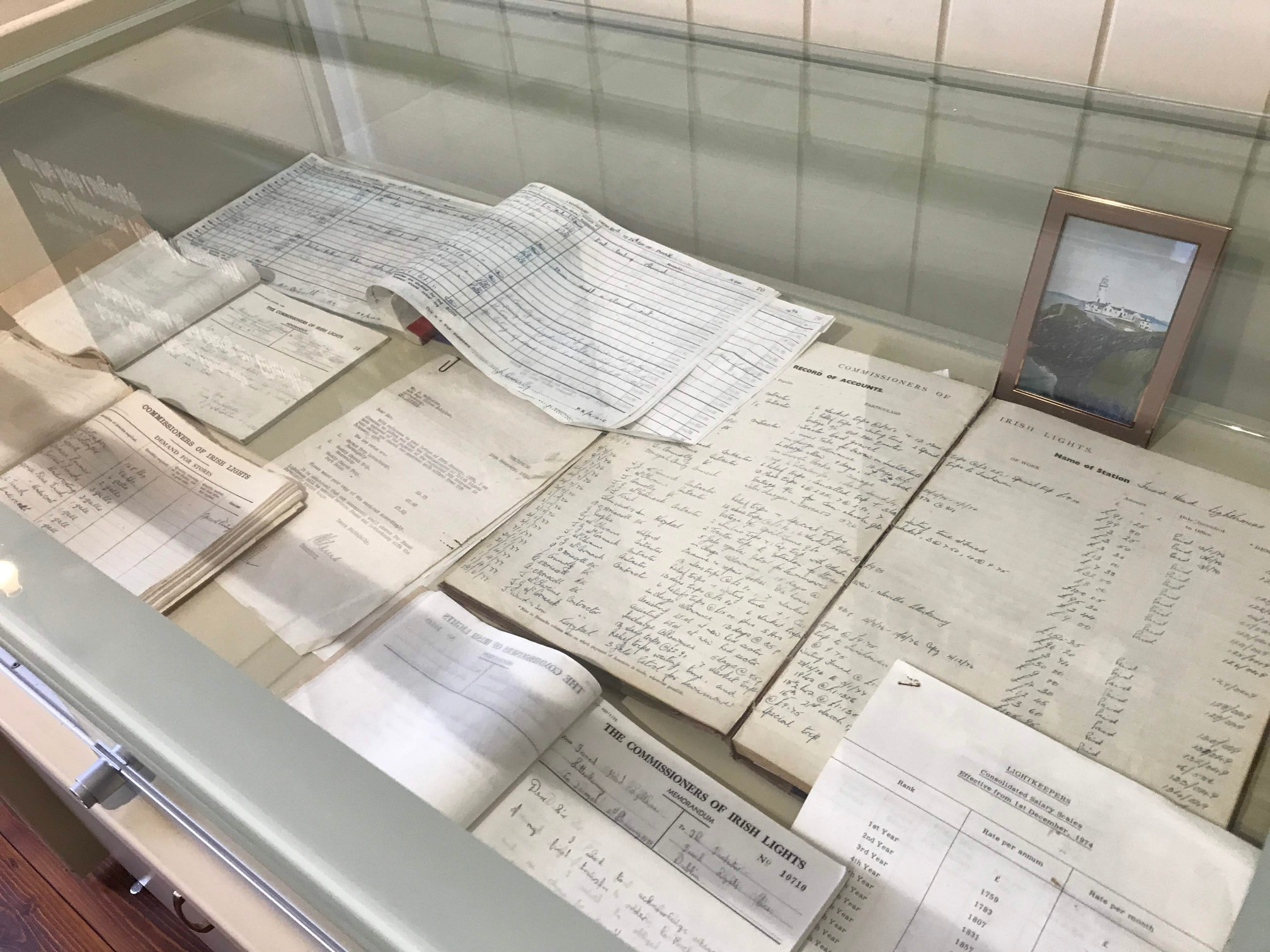 Some of the paperwork kept at the lighthouse