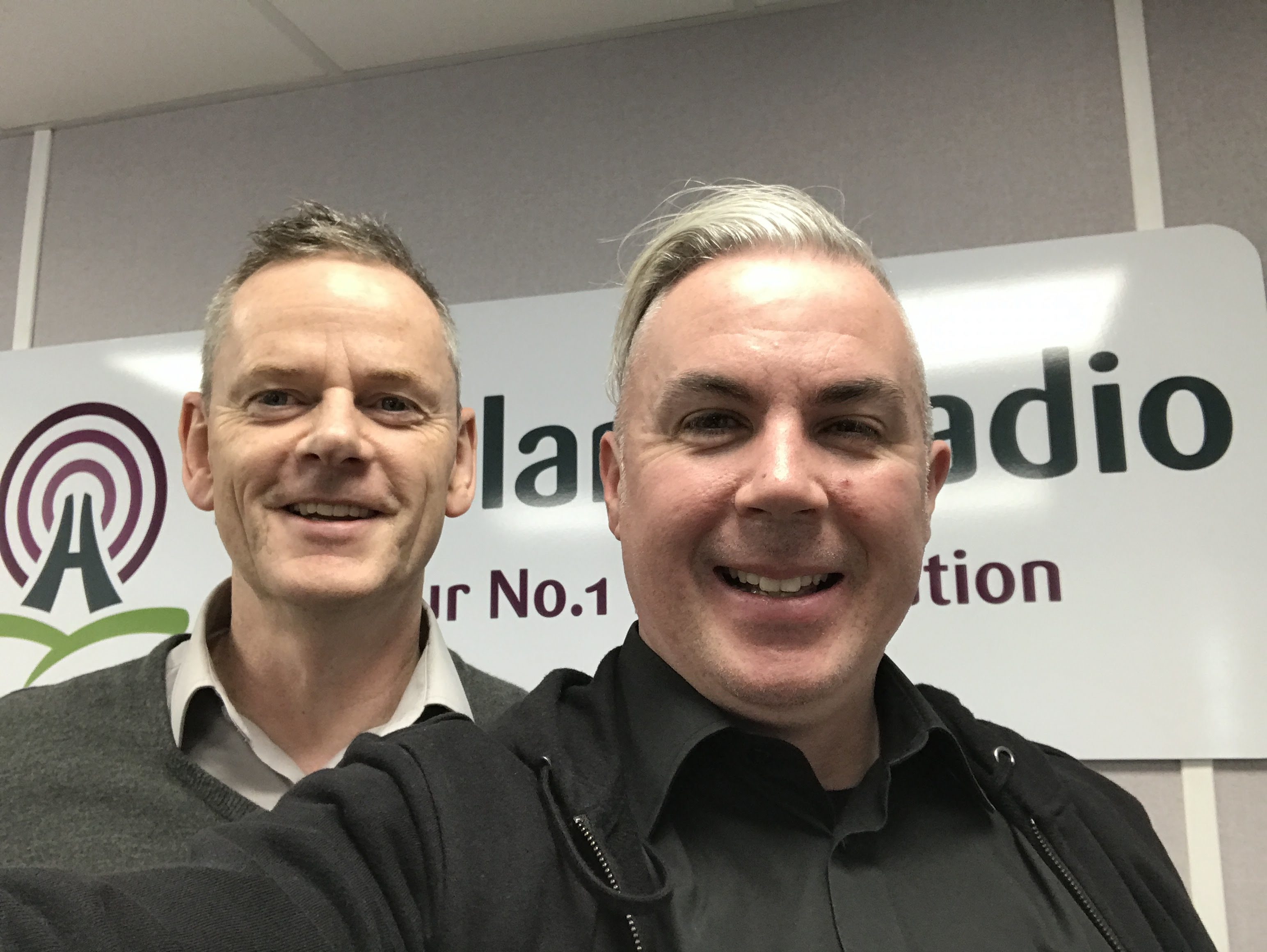Shane Smyth pictured with Highland Radio's John Breslin