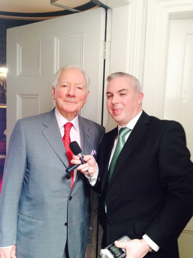 picture shows Shane meeting Gay Byrne at Glenveagh National Park