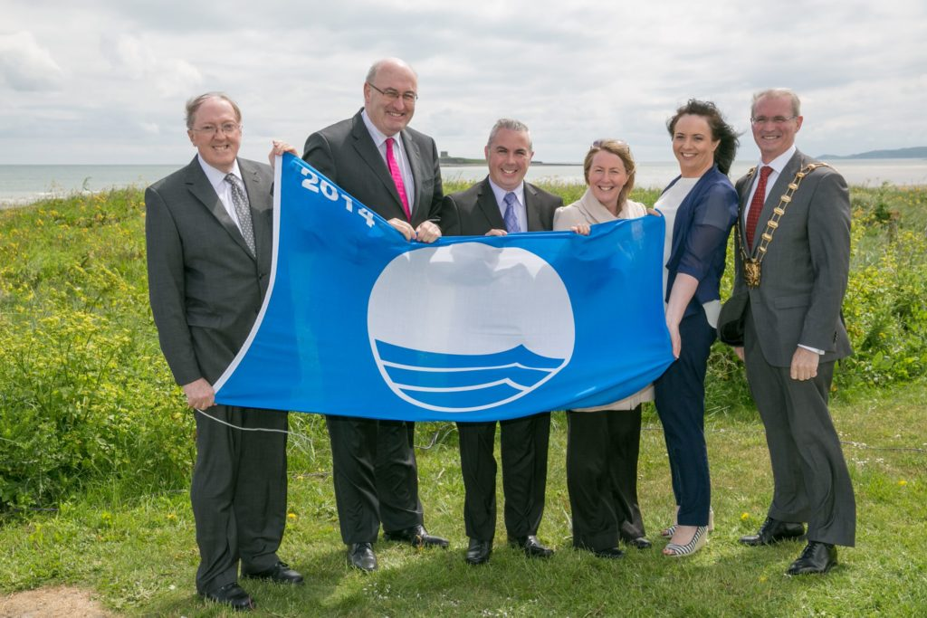 Shane Smyth collecting Bundoran's 27th Blue Flag in Portmarnock Dublin in 2014