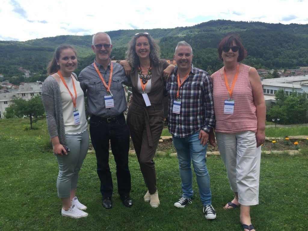 Representing Bundoran in Bulgaria 2016 - Megan McGee, Joe Mc Nulty, Shane Smyth and Denise Connolly pictured with Douzelage President Annigje Kruytbosch