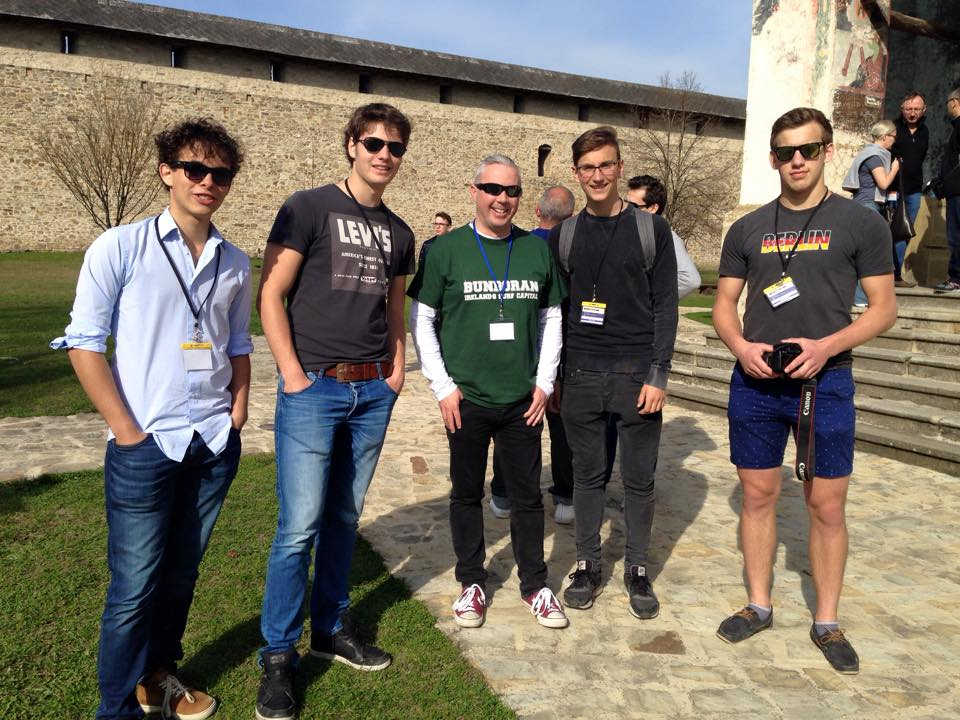 Shane Smyth with fellow delegates in Romania 2015 - Ingo & Ramon (Netherlands), Lucas (Slovakia) and Ali (UK)