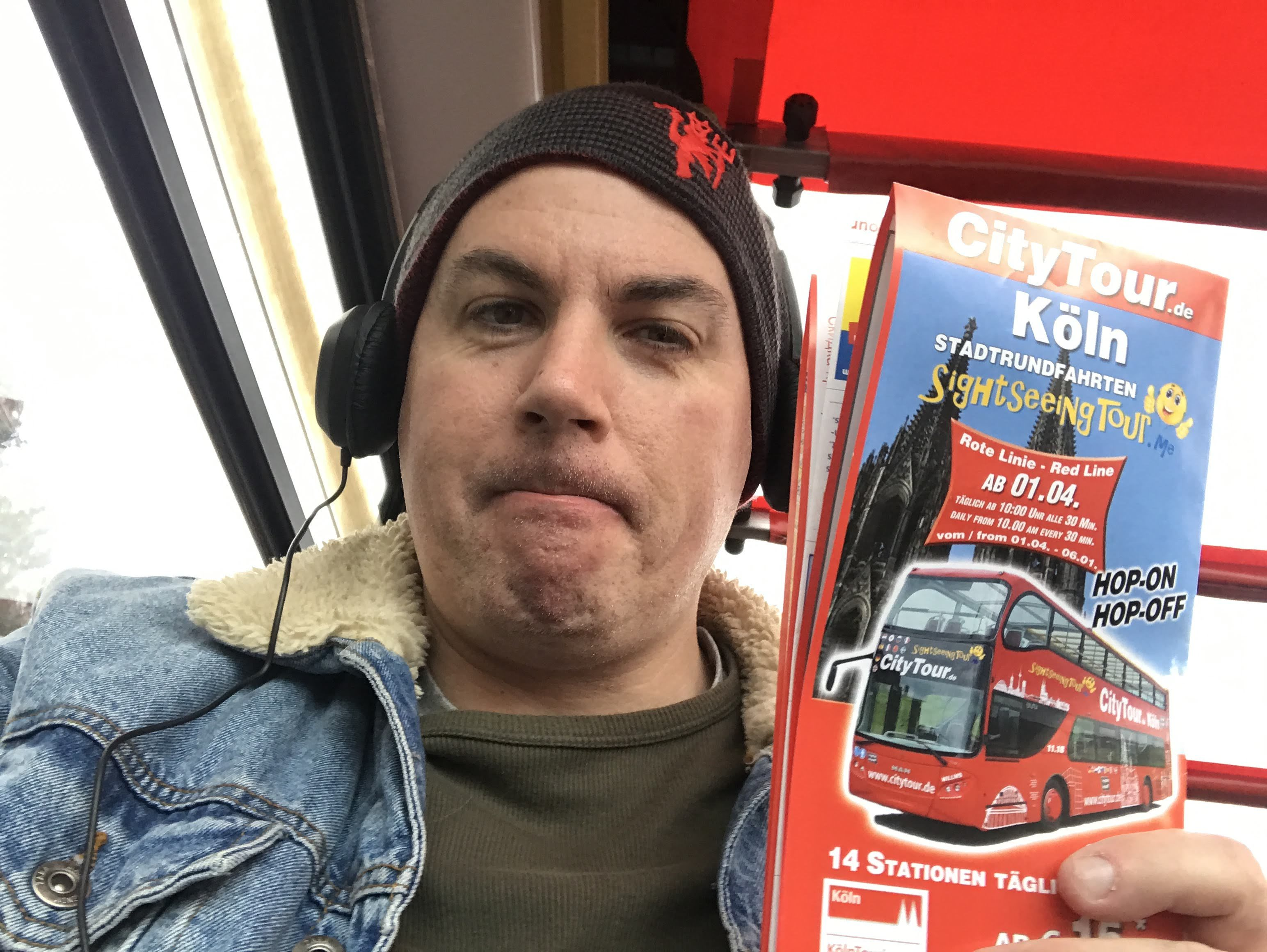 Shane Smyth taking a bus tour through Cologne